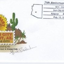 Image of Sun City West Stamps, Envelopes & Programs - Sun City West 25th Anniversary envelope with flyer about the brief history of Sun City West that was contained in envelope.  Envelope and brief history was sponsored by the Sun City West Coin and Stamp Club.