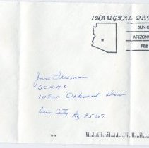 Image of Sun City West Stamps, Envelopes & Programs - Sun City Area Historical Society envelope that is postmarked with the Inaugural Day postmark from February 27, 1995.