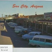 Image of Postcard - Postcard of Shopping Center at 107th & Grand Avenue in 1961.  Picture shows a TG&Y store and Greenway Drugs in the shopping center.