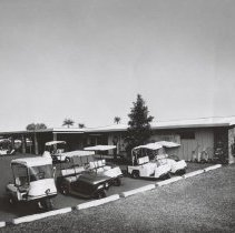 Image of Sun City General - golf courses - Three wheel golf carts were popular in the 1960's
