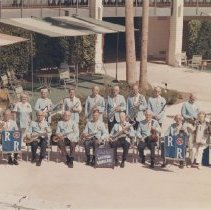 Image of The Rhythm Ramblers - The Rhythm Ramblers.  Band gathered poolside at Lakeview Center.