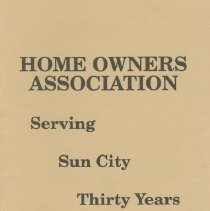 Image of Booklet - Sun City Home Owners Association 30 Years from 1963-1993.  The pamphlet gives a brief history of the association and has a list of presidents during the thirty years.