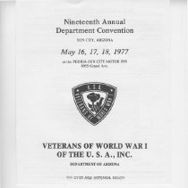 Image of Booklet - Veterans of World War 1, USA Inc. Department of Arizona Nineteenth Annual State Convention program for the dates of May 16-18, 1977.
