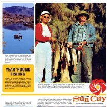 "Image of Pamphlet - Del E. Webb marketing brochure for Sun City. Per brochure ""There is greater variety of year 'round fishing in Arizona than any other state in America."""
