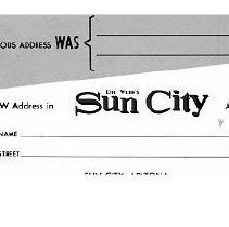 Image of Postcard - Del Webb's Sun City change of address postcard given to new home owners.  Note on backside of postcard gives Del Webb's address to get a 24 page full color brochure..