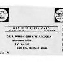Image of Postcard - Del Webb's postcard requesting Story of Del Webb's Sun City.