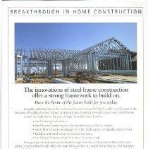 Image of Handbill - Breakthrough in Home Construction. Del Webb advertising brochure explaining the steel frame construction of Sun City West homes.