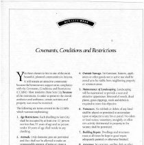 Image of Handbill - Sun City West Covenants, Conditions and Restrictions. Del Webb brochure listing the covenants, conditions and restrictions for Sun City West.