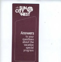 Image of pamphlet - Del Webb's Sun City West marketing brochure titlted answers to your questions about the vacation special program