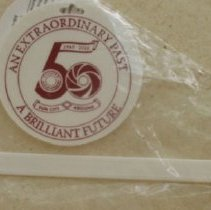 Image of Sun City 50th Anniversary - 50th Anniversary white plastic luggage tag.