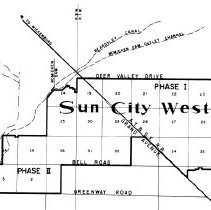 Image of Map - The plan for Sun City West announced by John Meeker in January 1975 envisioned a city built in two phases.  Phase I, today's Sun City West, would consist of the land east of Grand Avenue and north of Bell Road.  It was estimated that Phases I and II would have a total population of 70,000.