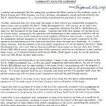 Image of Letter - Fairway Community Facilities Agreement between Del Webb Development Company and purchaser.