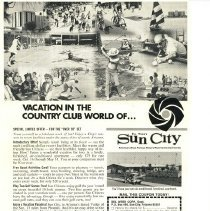 Image of Poster - Del E Webb Development marketing poster titled Vacation In The Country Club World Of.... 1972.