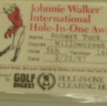 Image of Sun City Golf - Name badge to the Johnnie Walker Interrnational Hole-In-One Award on February 23, 1987.