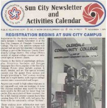 Image of Newsletter - Sun City Newsletter and Activities Calendar produced by Del E Webb Development Company for November 1976.