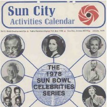 Image of Newsletter - Sun City Activities Calendar produced by Del E Webb Development Company for January 1978.