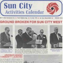 Image of Newsletter - Sun City Activities Calendar produced by Del E Webb Development Company for March 1978.