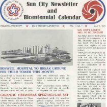 Image of Newsletter - Sun City Newsletter and Bicentennial Calendar produced by Del E Webb Development Company for July 1976.