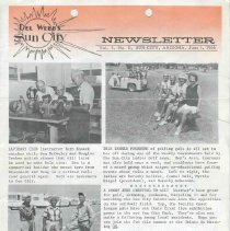 Image of Newsletter - Del Webb's Sun City Newsletter from Jerry Svendsen, Public Relations Department Del Webb Development Company for June 1, 1966.