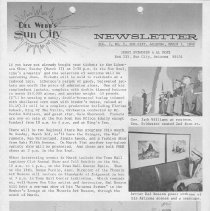 Image of Newsletter - Del Webb's Sun City Newsletter from Jerry Svendsen, Public Relations Department Del Webb Development Company for March 1, 1968.