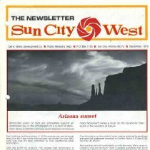 Image of Newsletter - The Newsletter Sun City West for September 1979, produced by Del E Webb Development Company.