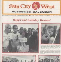 Image of Newsletter - Sun City West Activities Calendar for November 1980 which was produced by Del E Webb Development Company.