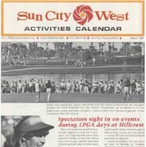 Image of Newsletter - Sun City West Activities Calendar produced by the Del E Web Development Company for March 1981.