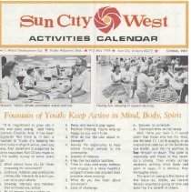 Image of Newsletter - Sun City West Activities Calendar produced by the Del E Web Development Company for October 1981.