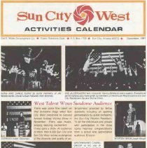 Image of Newsletter - Sun City West Activities Calendar produced by the Del E Web Development Company for December 1981.