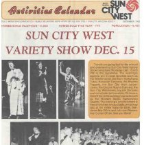 Image of Newsletter - Sun City West Activities Calendar produced by Del E Webb Development Company for December 1983.