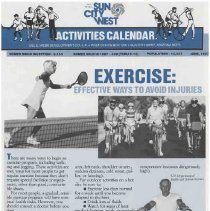 Image of Newsletter - Sun City West Activities Calendar produced by Del E Webb Development Company for June 1987.