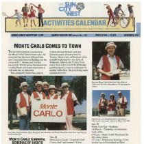 Image of Newsletter - Sun City West Activities Calendar produced by Del E Webb Development Company for November 1987.