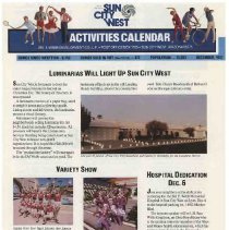 Image of Newsletter - Sun City West Activities Calendar produced by Del E Webb Development Company for December 1987.