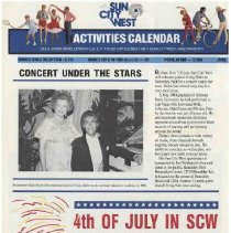 Image of Newsletter - Sun City West Activities Calendar produced by Del E Webb Development Company for June 1988.