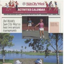 Image of Newsletter - Sun City West Activities Calendar produced by Del E Webb Development Company for March 1989.