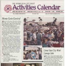Image of Newsletter - Sun City West Activities Calendar produced by Del E Webb Development Company for November 1989.