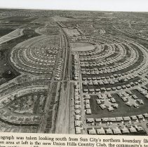 Image of Flier - Aerial photo of Sun City phase 3 while under construction. Del Webb was building 50 homes per week.