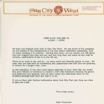Image of Letter - Correspondence from DEVCO Sun City West sales counselor to a visitor.