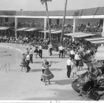 Image of Dance Club - Round dance demonstration at Lakeview Center pool side.