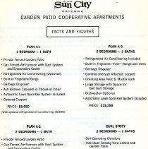 Image of Pamphlet - Sun City garden patio cooperative apartments facts and figures.