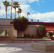 Image of Postcard - 1985 color photo of Sundome courtyard.