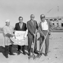 Image of Medical buildings - Groundbreaking ceremony of Lakeview Medical Arts Center; l to r: Unknown, John Meeker DEVCO, Owen Childress DEVCO and Wally Britton DEVCO construction superintendent.