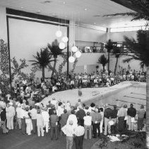Image of Sundial Center - Residents view the indoor swimming pool at Sundial Center.