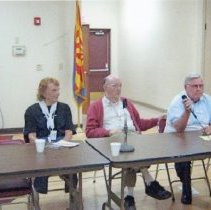 Image of Computers - McIntosh Computer Club, left to right:  Barbara Craft moderator, Barbara Swanson, Col. Dilmore, Larry Casto and Jane Hartman.