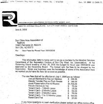 Image of Letter - Letter from Recreation Centers of Sun City West stating new fees effective July 1, 2005.