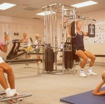 Image of Sun City West fitness - Working out at fitness center.