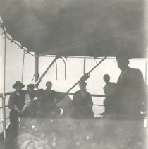 Image of Men on stern of ship - Print, Photographic