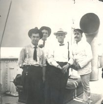 Image of Three men on board ship - Print, Photographic