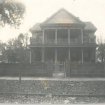 Image of House with block wall  - Print, Photographic