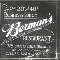 Image of Advertisement for Berman's restaurant - Print, Photographic